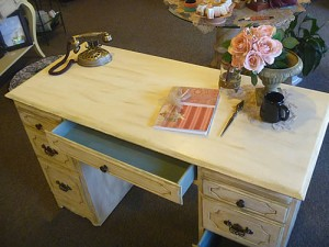 Beautiful desk after chalk painting, no sanding, no stripping.