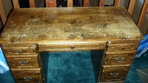 scratched desk before using chalk paint.