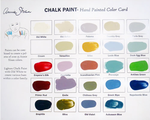 Chalk paint color chart.