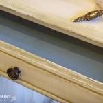 Desk drawer now antiqued.