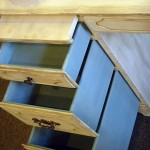 Antique desk drawers re-done in blue chalk paint.