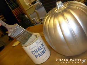 My silver pumpkin, about to be chalk painted!