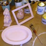 Items painted with pink chalk paint.