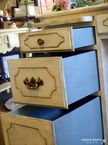The Old White desk drawers after being antiqued with dark wax - WOW!
