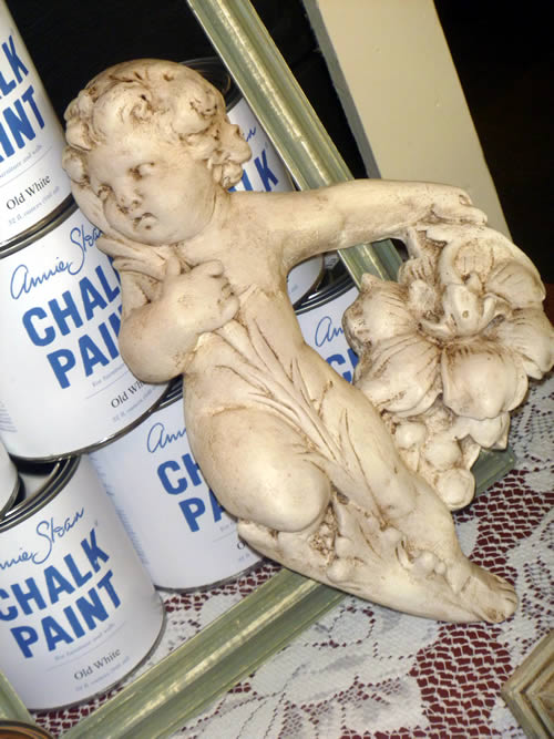 Chalk painted and Antiqued Cherub angel.