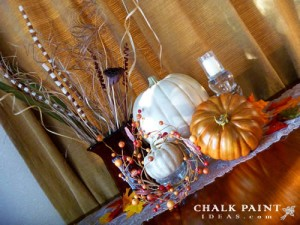 The chalk painted pumpkins in all their glory in my Fall table decoration.